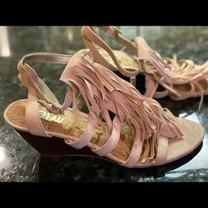 Nude suede fringe sandals
